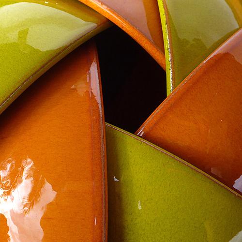 Poterie & Cuisine | Saladier Conique + 6 Bolées - Orange - Vert Anis