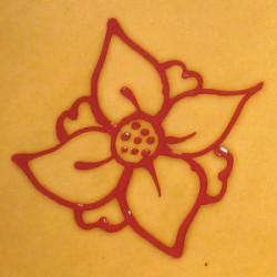 Assiette Plate Ronde - Décor Fleur Rouge